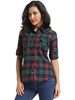 4734c742d17a Match Women's Long Sleeve Flannel Plaid Shirt at Amazon Women's ...