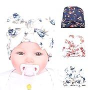 DRESHOW BQUBO Floral Bow Newborn Hat Newborn Hospital Hat Infant Baby Hat Cap with Big Bow Soft Cute Knot Nursery Beanie Pack 3