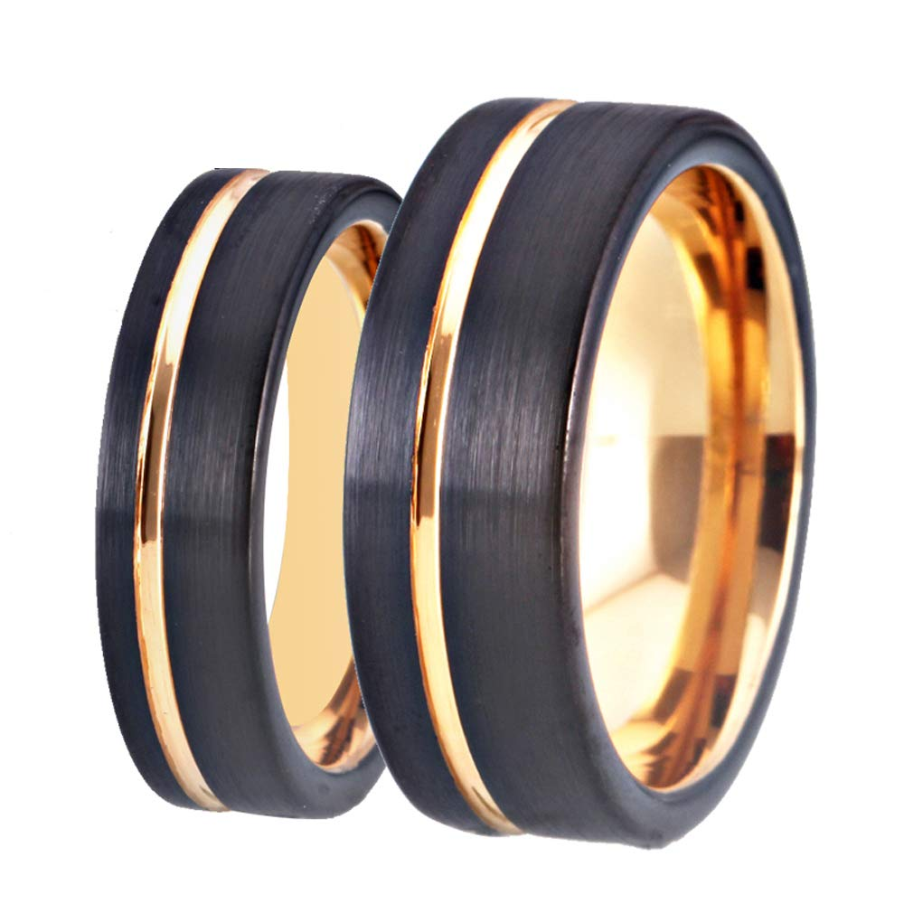 Cloud Dancer Lovers Wedding Band 6mm//8mm Width Black Brushed Tungsten Ring Thin Side Rose Gold Groove Flat Edge Comfort Fit