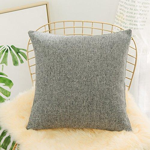 HOME BRILLIANT Throw Euro Pillow Sham Linen Chenille Blend Textured Grey Striped Cushion Cover for Sofa, 26 x 26 inch (66cm), Snowflake
