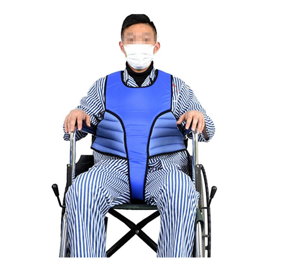 WE&ZHE Wheelchair Vest Safety Strap Constraint Band Multifunction Anti-Fall Protective Clothing (Blue)