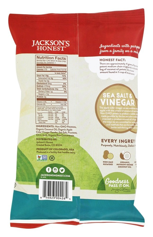 Jacksons Honest Chips Chip Potato Sea Salt Vinegar coconut Oil, 1.2 oz by JACKSONS HONEST CHIPS (Image #2)
