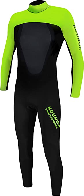 Kounga Boys Pro 4.3 Neoprene Surfing 4//3 Wetsuit Black//Green 6