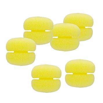 Sharplace 6 Piezas Rizador de Pelo Esponja de Alta Elasticidad de Diseño Suave y Liviano Fácil de Usar - Amarillo: Amazon.es: Belleza