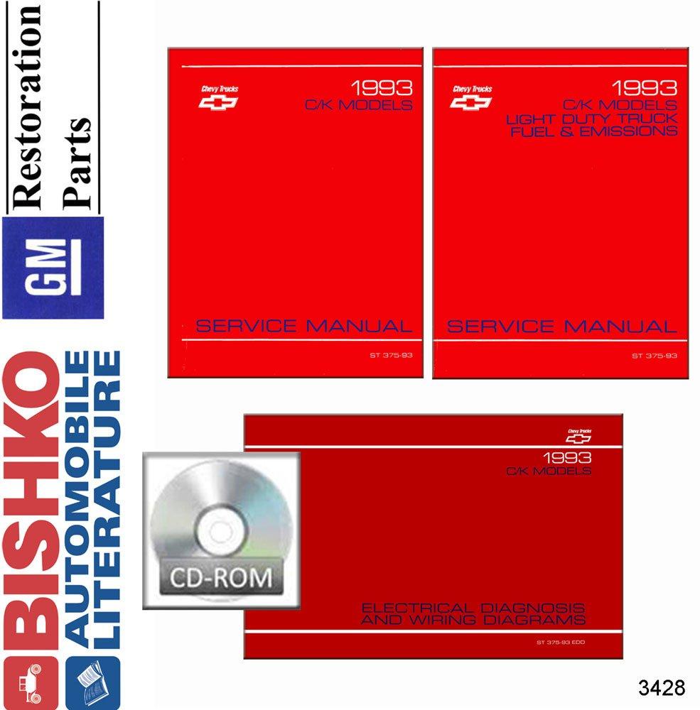 Bishko Automotive Literature 1993 Chevy Gmc C K 10 30 Wiring Diagrams For Light Duty Trucks Truck Shop Service Repair Manual Cd Engine