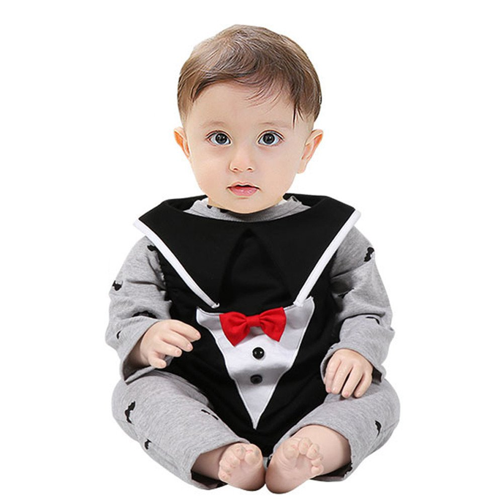 3PCS Halloween Vampire Costume Set for Infant Baby Boy Cartoon Bit Print Romper+ Vest Evil Hat Outfits uBabamama(Gray,18M)