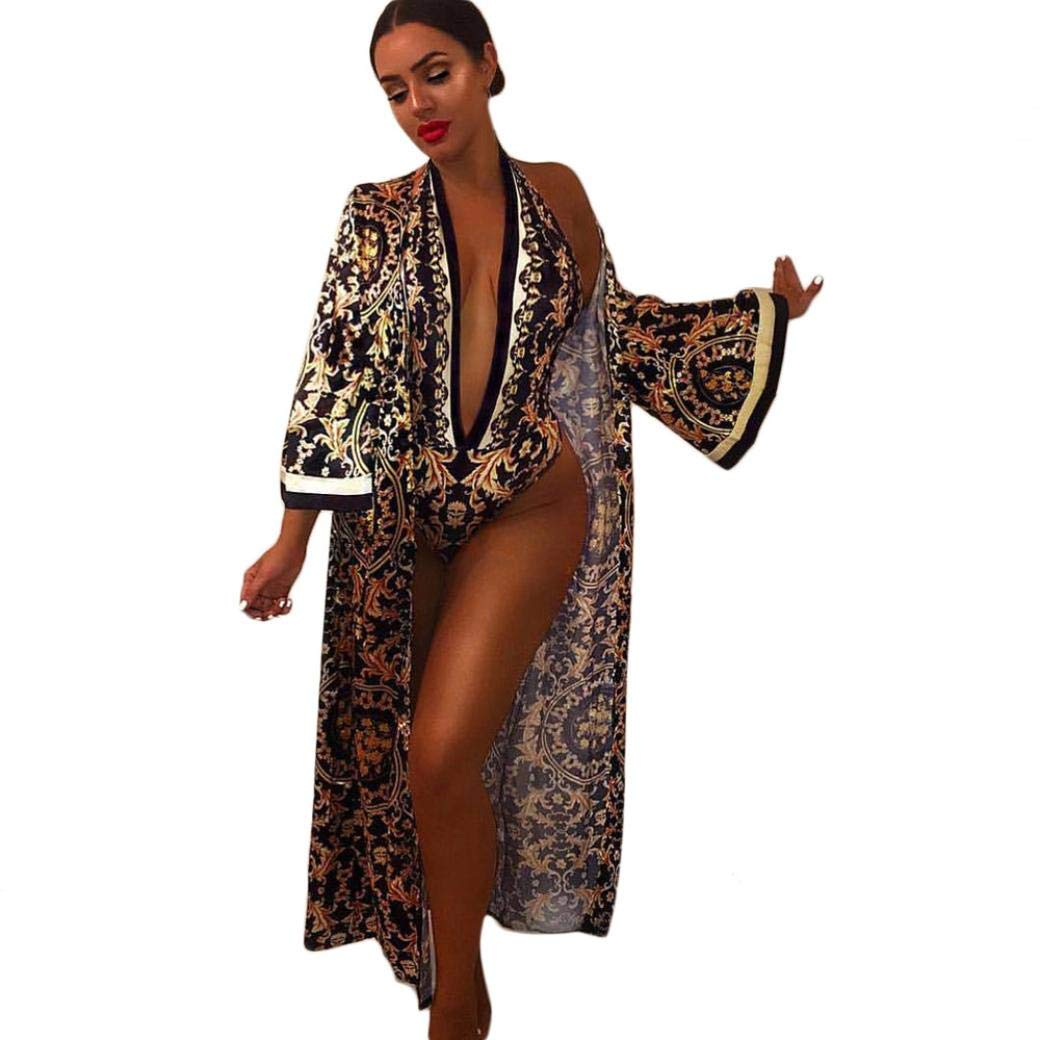 Pandaie Womens Jacket,Women Sexy 2 Pieces Sets V-Neck Print Jumpsuit and Beach Wear Long Maxi Coat
