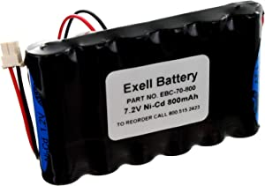 Exell NiCD 7.2V 800mAh Back-Up Replacement Battery for Security Alarm Systems for Honeywell K10145X10, Lynx LYNXRCHKIT-SCLYNXRCHKITHC, 55026089, 781410403291, Interstate NIC1247 Walynx-RCHB-SC