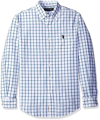 U.S. Polo Assn. Men's Long Sleeve Poplin Windowpane Check Sport Shirt, Delancey Blue, (Windowpane Check Shirt)