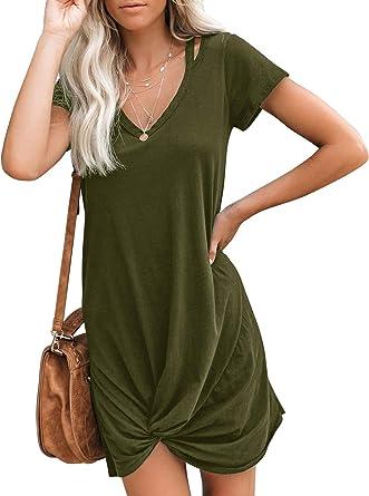 Amazon Com Berryou Women S Casual Short Sleeve V Neck Front Knot Twist Tie T Shirt Dress Clothing
