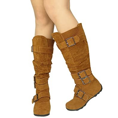 Amazon.com | Womens Knee High Boots Ruched Leather Buckles Knitted ...