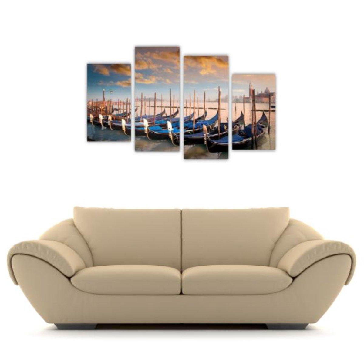 4pc Canvas Wall Art Set Arthauz Venice Italy Gondolas Prestretched Print BW63776