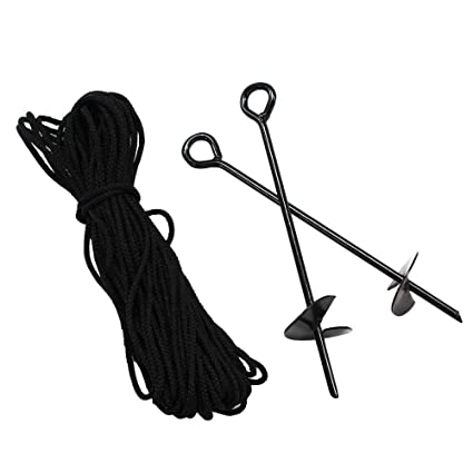 King Canopy A6200 6-Piece 15-Inch Anchor Kit with Rope, Black