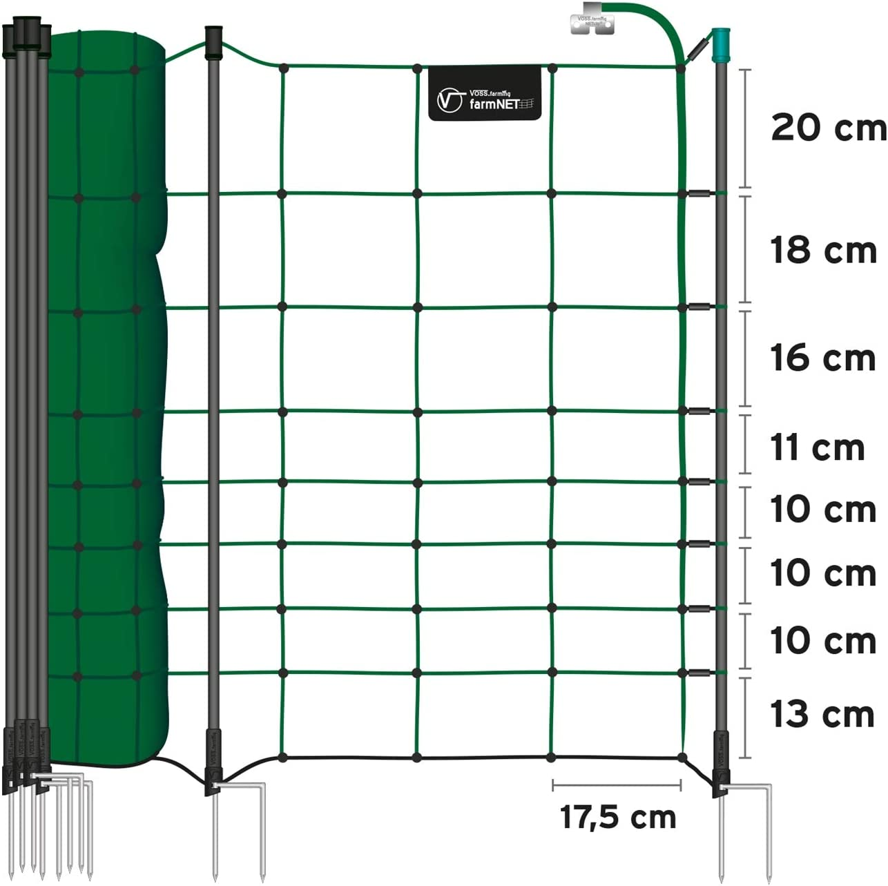20 Pf/ähle 2 Spitzen 50m Schafnetz Ziegenzaun Elektronetz VOSS.farming Schafzaun 108cm farmNET Gr/ün