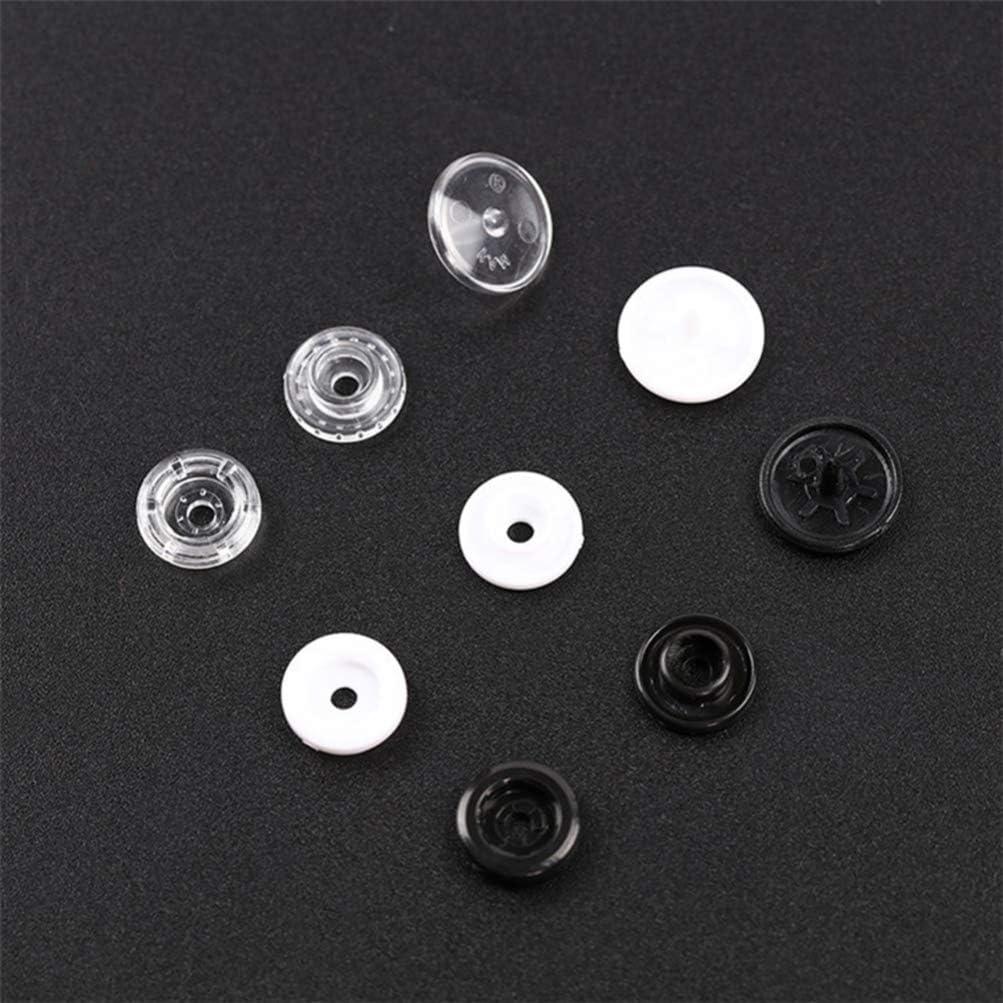 Blanco SUPVOX 100 Juegos de Botones de Cierre a presi/ón de pl/ástico cosen Botones a presi/ón Botones Invisibles presione el bot/ón para la Ropa de Costura Artesanal de Bricolaje 10.7 mm