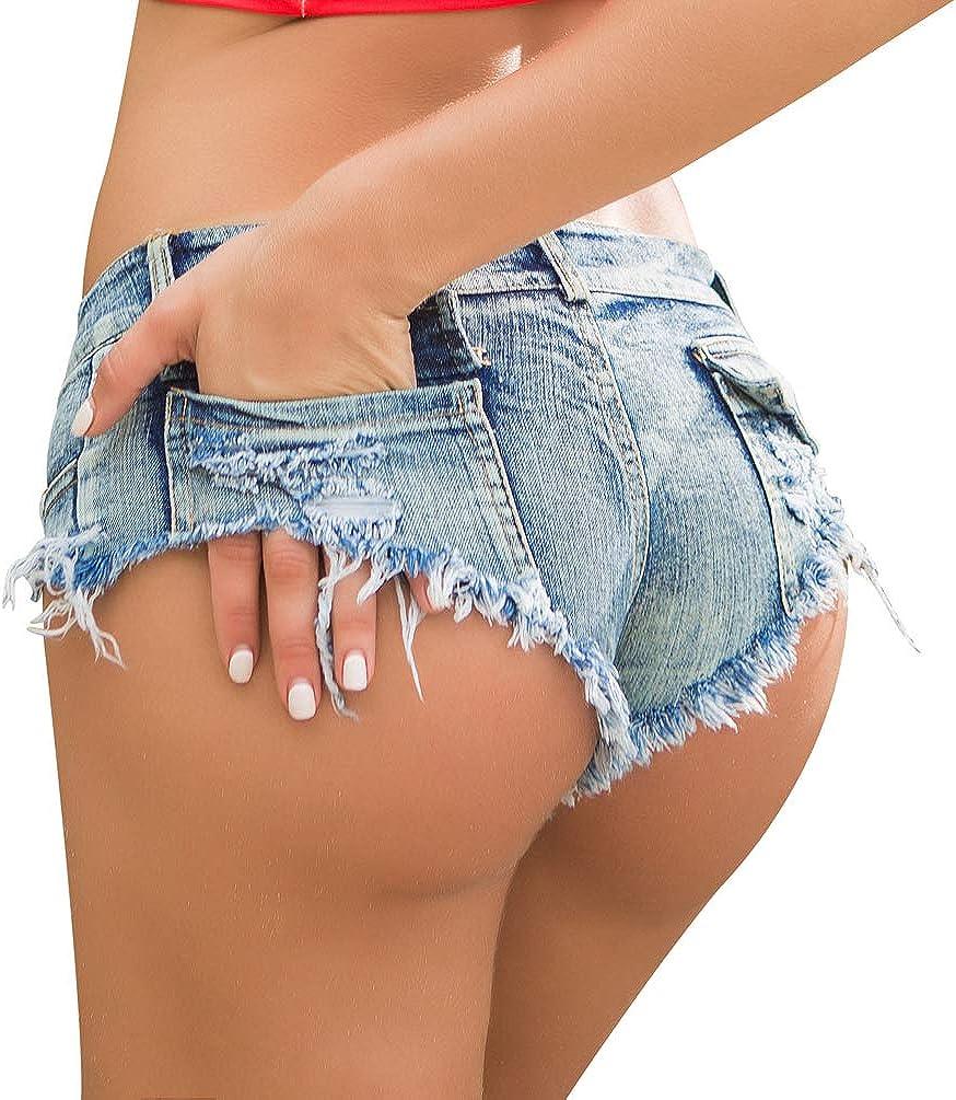 WanYangg Donna Sfilacciati Denim Pantaloncini Corti Estate Shorts Ultrashort Perizoma Vita Bassa Mini Jeans Spiaggia Night Club Hot Pants 1#Bianco