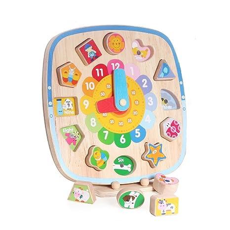Boby Reloj Aprendizaje Juguetes de Madera Educativos para Niños Niñas Aprender la Hora