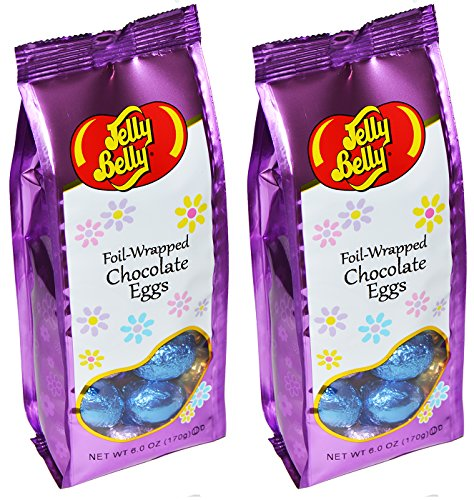 Jelly Belly Easter Foil Wrapped Chocolate Eggs 6 Ounce Bags (Pack of 2)