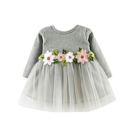 91a287967 Amlaiworld Otoño invierno lindo bebé niña tutú floral de manga larga vestido  de princesa 0-