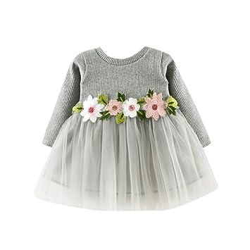 e2540e9c0 Amlaiworld Otoño invierno lindo bebé niña tutú floral de manga larga vestido  de princesa 0-24 Mes (Tamaño 0-6Mes