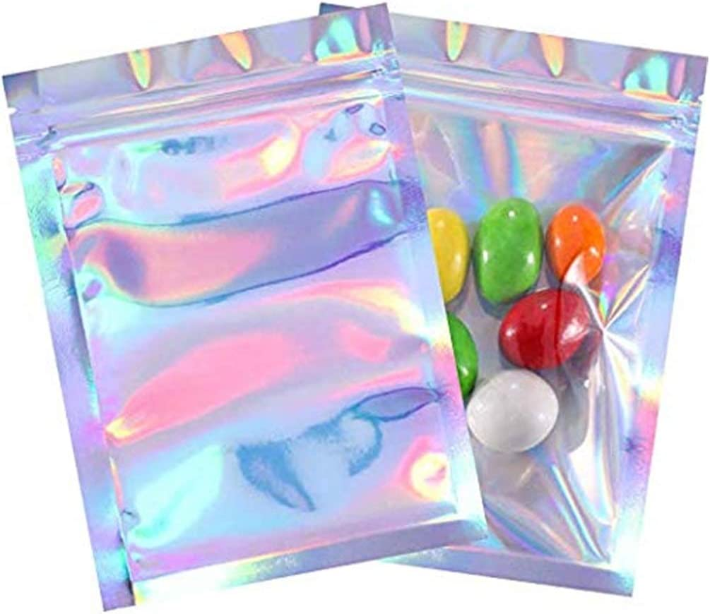 100Pcs Clear Front Glitter Holographic Zip Lock Bags Iridescent Pouches Food Packing Packaging Pouches Mylar Bags Storage Pouches Bags Silver 5.5x7.8in (14x20cm)