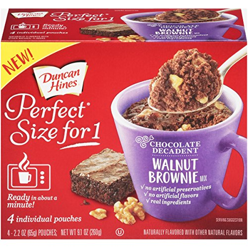 Duncan Hines Perfect Size for 1 Brownie Mix, Ready in About a Minute, Walnut Brownie, 4 Individual Pouches, 2.2 Ounce (Pack of 4)