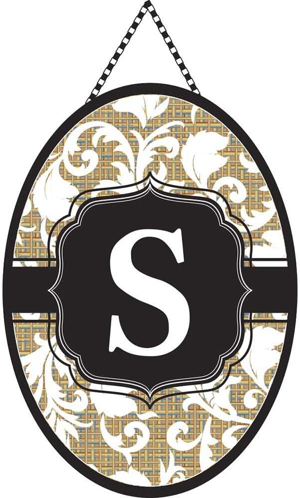 Magnolia Garden Monogram Letter S Shield with White Filigree on Burlap 18 x 13 Oval Chain Rope Door Banner