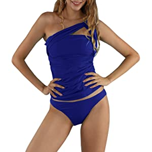 Dellytop Womens One Shoulder Swimsuit Two Piece Ruched Tankini Tummy Control Bikini Set