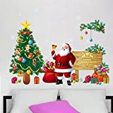 perfect christmas wall decals  DIY Christams Wall Sticker Santa Claus with Christmas Tree Wall Decals Removable Snowflake Wall Stickers Murals for Home Kid's Living Room Bedroom Shop Window Decorations