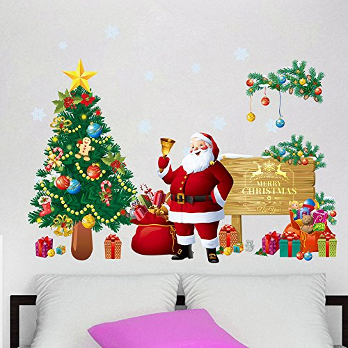 DIY Christams Wall Sticker Santa Claus with Christmas Tree Wall Decals Removable Snowflake Wall Stickers Murals for Home Kid's Living Room Bedroom Shop Window Decorations