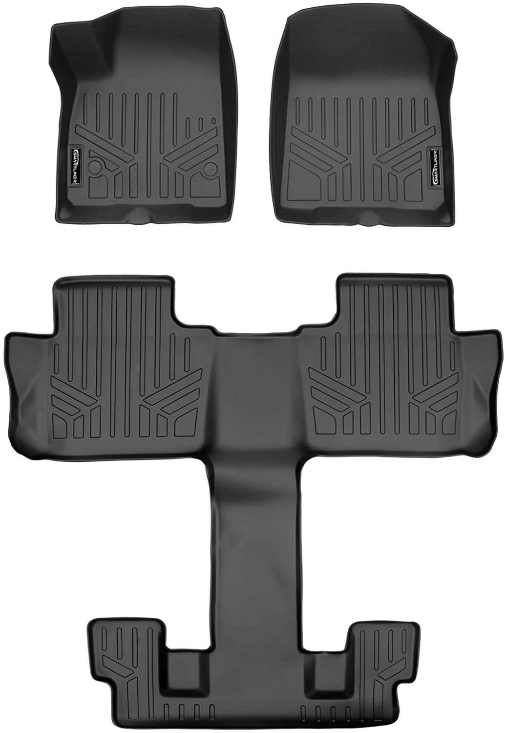 SMARTLINER Custom Fit Floor Mats 2 Row Liner Set Cocoa for Traverse//Enclave//Acadia//Outlook with 2nd Row Bucket Seats