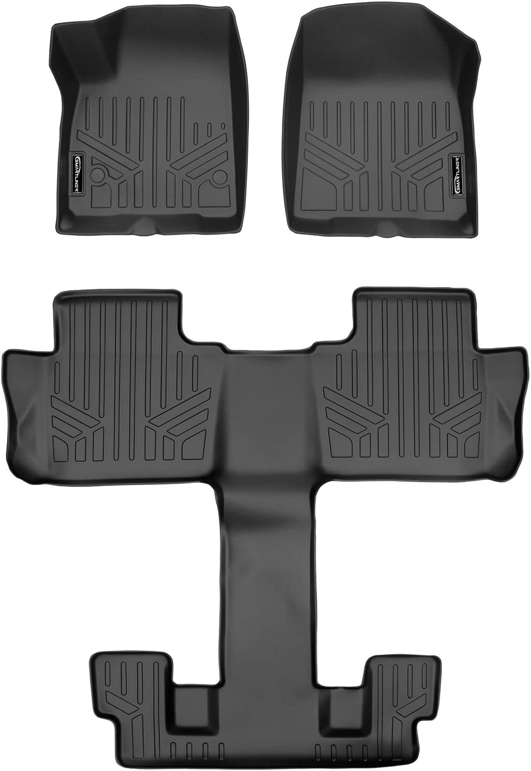 MAX LINER A0230 Custom Fit Floor Mats 1st Row Liner Set Black for 2017-2019 GMC Acadia