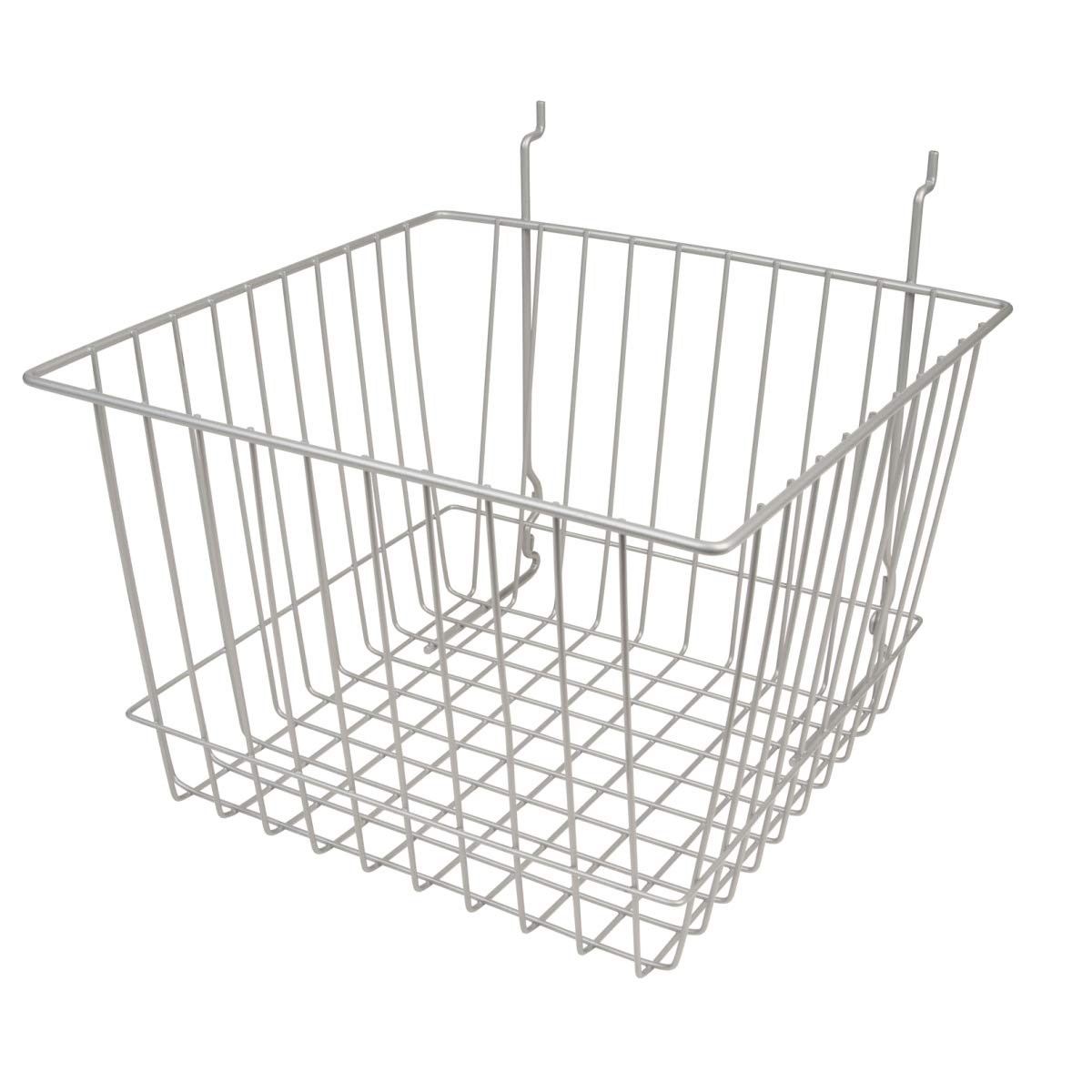 Econoco - Epoxy Chrome Multi-Fit 12'' Deep Wire Basket for Slatwall,  Pegboard or Gridwall (Set of 6) Metal Semi-Gloss Basket, Epoxy Chrome