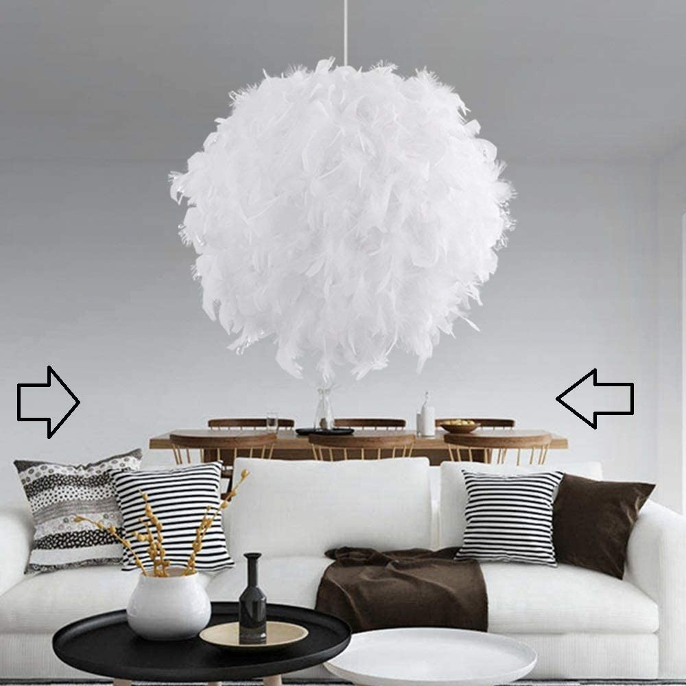 White Feather Ceiling Pendant Light Shade 10cm Droplight Lampshade Simple  Decorative for Living Room Bedroom Hotel