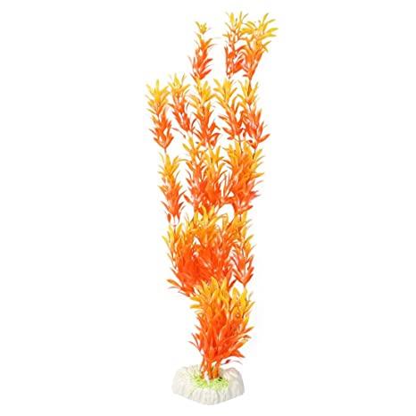 """16""""Altura Amarillo y Naranja de plástico hoja peces adorno de acuario planta"""