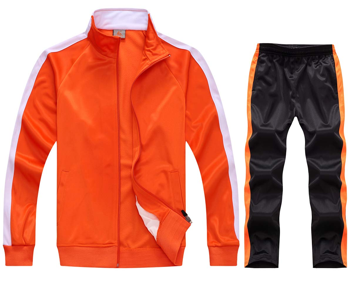 myglory77mall Running Jogging Tracksuit Jacket and Pants Warm Up Gym Wear 6801 Orange S US(L Asian) by myglory77mall