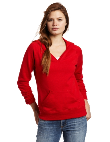 (Soffe Juniors Rugby Fleece Deep V Hoodie, Red, X-Large)