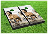CORNHOLE Set BEANBAG TOSS GAME Mustangs Running w Bags Boards Set 74