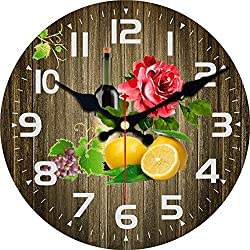 MEISTAR-- Modern Home Decor Quiet Sweep Movement Various Fruit Round Wall Clock Frameless Kitchen Decor Gift (12 inches)