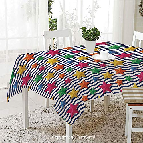 Party Decorations Tablecloth 3D Stylized Colorful Stars and Blue Wavy Stripes Marine Theme Starfish Graphic Art Table Protectors for Family Dinners (W55 xL72) from AmaUncle