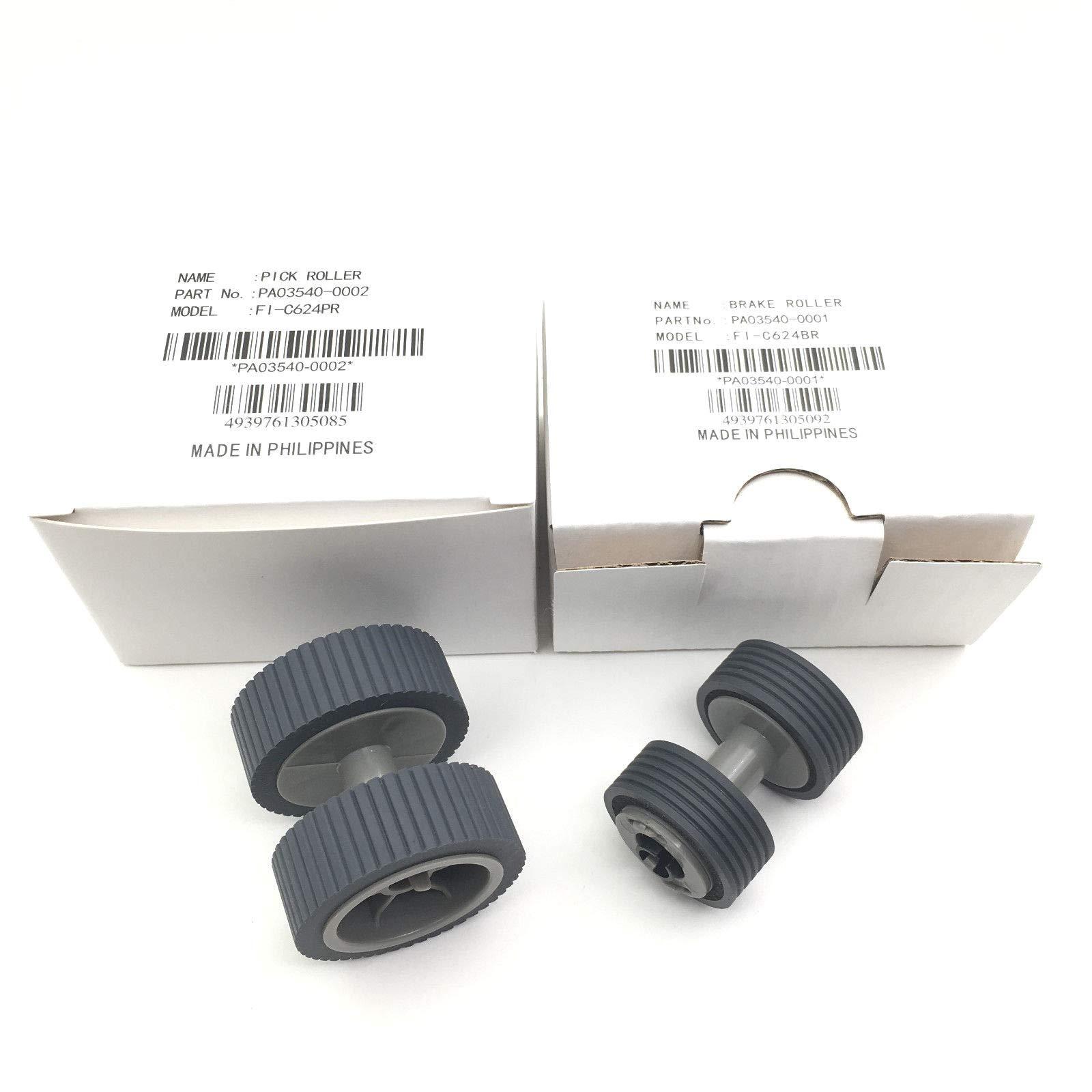PA03540-0001 PA03540-0002 Brake Roller + Pickup Roller for Fujitsu fi-6240 fi-6140 fi-6230 fi-6130 fi-6125 fi-6225 fi-6240Z fi-6140Z fi-6230Z fi-6130Z