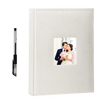 Facraft Wedding Photo Album 300 4x6 Horizontally With Memo Area And Leather Cover Ivory13x9 Inch
