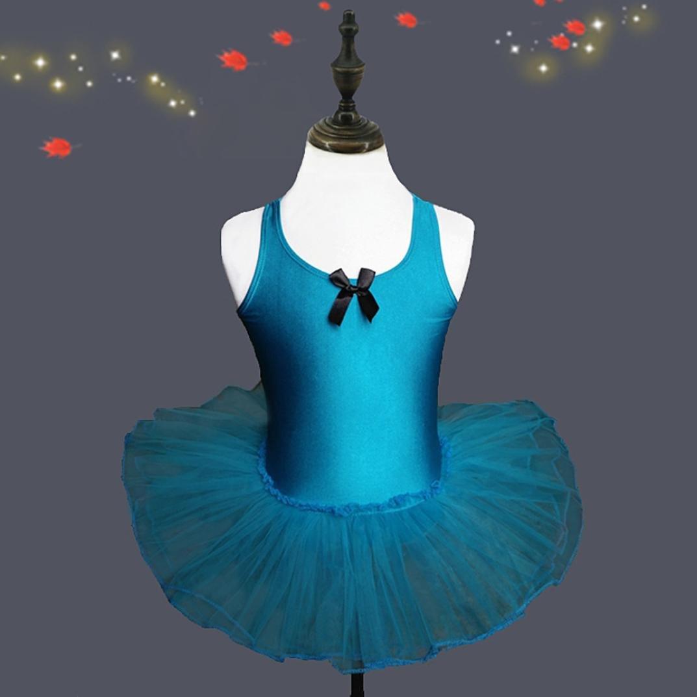 Blue, 24M G-real Toddler Baby Girl Kids Solid Ballet Gauze Leotards Dancewear Bow Tulle Dance Dress for 2-6T