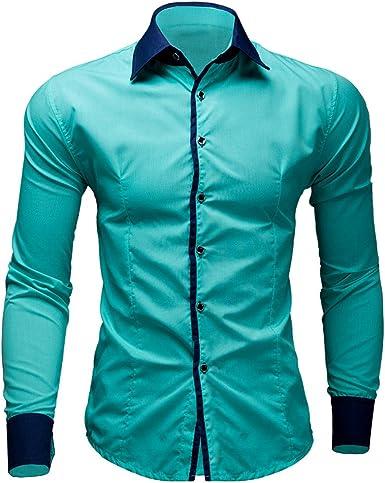 FantaisieZ-Hemd - Camisa Casual - Camisa - Manga Larga - para Hombre Verde Menta L: Amazon.es: Ropa y accesorios