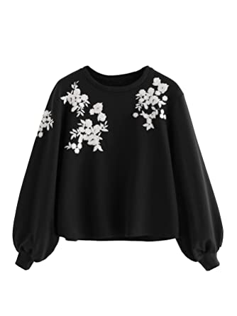 524d5b8ee Romwe Women s Loose Embroidery Lantern Sleeve Pullover Sweatershirts ...