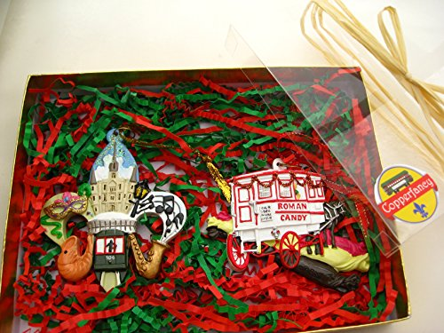 CopperFancy LLC New Orleans Christmas Ornament 2 PC Box Set FDL/Roman Candy A