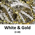 Crinkle Cut Paper Shred Filler (1 LB) for Gift Wrapping & Basket Filling - White & Gold | MagicWater Supply