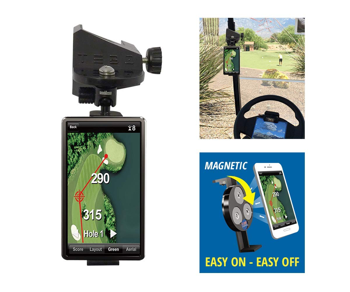 TEBO Smartphone Holder - Golf Cart Mount Installs in Seconds and Fits Any Make - Adjustable Cellphone Caddy for Any Model or Size Phone - Record Your Swings and Easy GPS Viewing by TEBO