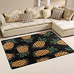 WOZO Watercolor Pineapple Fashion Area Rug Rugs Non-Slip Floor Mat Doormats Living Room Bedroom 60 x 39 inches