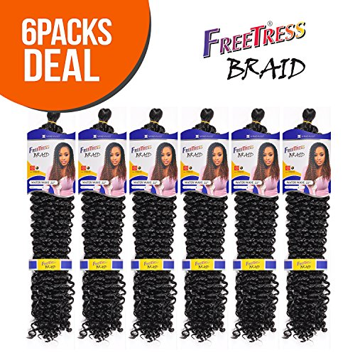 Synthetic Hair Braids FreeTress Water Wave Bulk 22 (6-Pack, 1B)